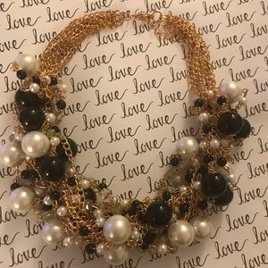 Jewelry - White simulated pearl and black statement necklace